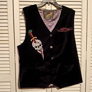 Ed Hardy Velvet & Snake Embroidered Vest